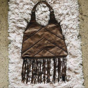 Bohemian Brown Leather Purse Fringe Tassels Indie